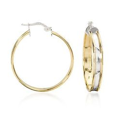 18kt Italian Yellow Gold and Sterling Silver Hoop Earrings