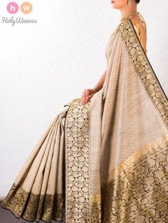 #Beige #Kora #Silk #Brocade #Handwoven #Saree #HolyWeaves