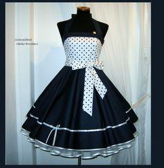 Entdecke lässige und festliche Kleider:  Petticoatkleid Maritim Blau  made by Schneiderei Heike Borchers via DaWanda.com