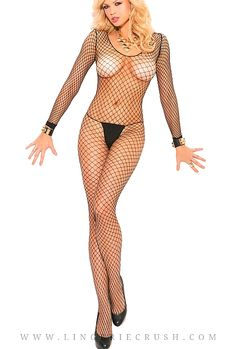 Trendy Full Sleeve bodystockings with open crotch
