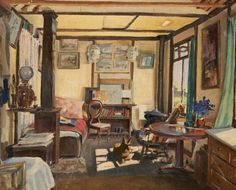 james purdy(1900–72), the studio. oil on canvas, 47 x 57 cm. gallery oldham, uk http://www.bbc.co.uk/arts/yourpaintings/paintings/the-studio-90822
