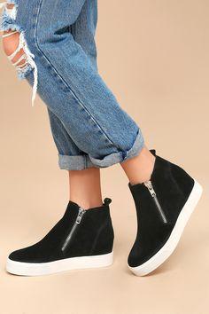 218b1de014bc Wedgie Black Suede Leather Hidden Wedge Sneakers