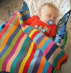 Diy Crafts - -The stripy blanket is done ❤️ and I am very happy with how it turned out ❤️ more Regram via lemondedesucrette Crochet Baby Dress Pattern, Crochet Blanket Patterns, Baby Blanket Crochet, Baby Knitting Patterns, Baby Patterns, Dress Patterns, Sewing Patterns, Easy Knit Blanket, Knitted Baby Blankets
