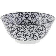 Tokyo Design Studio Nippon Black Bowl - Stripe ($11) ❤ liked on Polyvore featuring home, kitchen & dining, serveware, black, black bowl, striped bowl, onyx bowl, microwave safe bowl and porcelain bowl