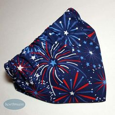 Fireworks and Stars Patriotic Dog Bandana: Bursts of fireworks in patriotic red, white and light denim blue on a navy blue background are perfect for July / Independence Day celebrations! Fireworks, Mothers Day 2018, Independance Day, Navy Blue Background, Blue Dog, Cotton Quilting Fabric, Happy Independence Day, Pet Names