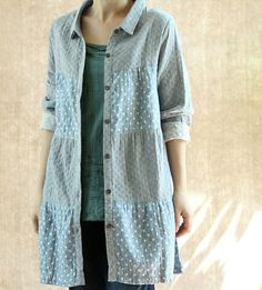 cotton single breasted lapel stitching long sleeved by MaLieb, $82.00