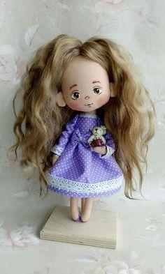Cute textile doll / Коллекционные куклы ручной работы. Ярмарка Мастеров - ручная работа. Купить Куколка Кристи. Handmade. Авторская кукла, интерьерная кукла