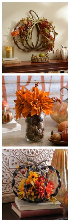 Don't forget to add floral to your home this fall! You can create centerpieces, decorate your walls or add flair to your mantel.