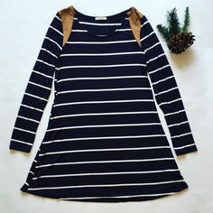 Navy striped t-shirt dress with camel suede shoulder patches. $28