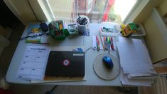 Distant Learning work station for a 4th grader.. He loves the view and how he is right next to my art studio . SandraMucha.com #distantlearning My Art Studio, Art Lessons, My Arts, Learning, Teaching, Art Education, Education, Studying, Art Tutorials