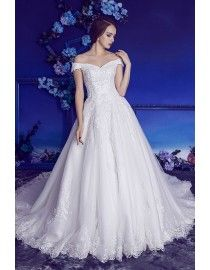 Gorgeous off shoulder lace appliques crystals pearls beaded accent A-line court train wedding dresses 2017 HB-713