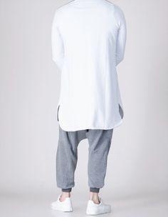 QL KamiSweat Longline Sweatshirt Jubba Kurta Short Kameez in White   Grey 161c2da9b