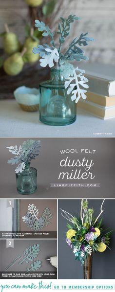 DIY Felt Dusty Miller - www.LiaGriffith.com - #cricutmaker #cricutmade #officialcricut #feltcraft #feltcrafts #feltpattern #feltdustymiller #feltflowers #paperflowers #jumbopaperflowers #tropicalpaperflowers #Paperflowerbouquet