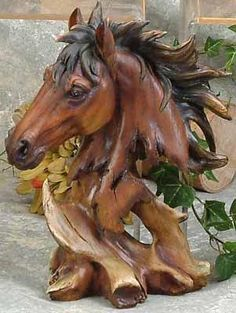 Unison Gifts 11 H In. Chainsaw Wood Carving, Wood Carving Art, Wood Art, Horse Sculpture, Animal Sculptures, Art Optical, Tree Carving, Horse Gifts, Wood Creations