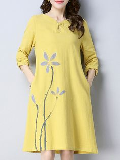 Vintage Floral Print Frog Button Long Sleeve Dresses For Women is high-quality, see other cheap summer dresses on NewChic Mobile. Short Beach Dresses, Cheap Summer Dresses, Korean Fashion Dress, Embroidery Fashion, Latest Fashion For Women, Types Of Sleeves, Floral Prints, Clothes For Women, Casual