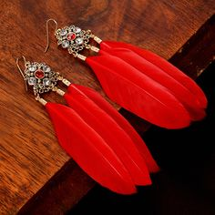Crystal Red Feather Earrings //Price: $10.49 & FREE Shipping //     #christmasearrings