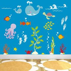 Ocean Wall Decal Fish Wall Decal Under The Sea Wall Decal - Nursery wall decals gender neutral