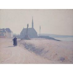 """""""Morning Haze, Winter, Concarneau,"""" Charles Henry Fromuth, 1892, Oil on canvas, 18 1/4 x 24 1/4"""", Terra Foundation for American Art."""