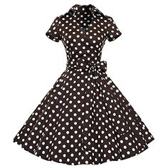 Eastabile Womens Classic Neck 50s 60s Party Casual Retro Dress Vintage Retro Picnic Party Dress >>> Learn more by visiting the image link.