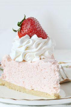 No Bake Strawberry Cheesecake, so easy too!!!