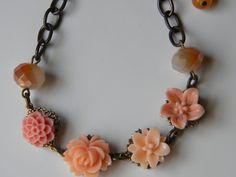 Summer Peach Floral Blossom Bracelet Dainty Floral Bracelet Shades of Peach Bracelet