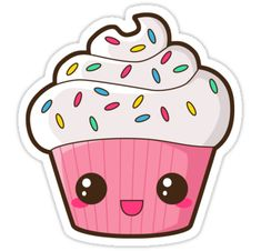 'Happy Cupcake' Sticker by pai-thagoras - cupcake desenho Kawaii Girl Drawings, Cute Little Drawings, Cute Food Drawings, Cartoon Cupcakes, Cute Cupcakes, Griffonnages Kawaii, Arte Do Kawaii, Cute Cupcake Drawing, Cupcake Art