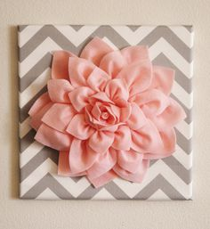 BLACK FRIDAY Wall Flower Light Pink Dahlia on Gray and by bedbuggs