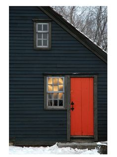 Orange door - this colour looks great with the dark wood. (Plain texture of the door helps too).