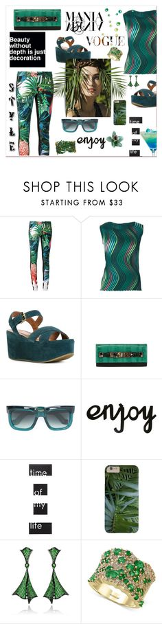 """""""Vogue Mania"""" by zabead ❤ liked on Polyvore featuring Roberto Cavalli, Issey Miyake, L'Autre Chose, Victor Hugo, Jacques Marie Mage, SAM, Umbra, Effy Jewelry, tropical and MyStyle"""