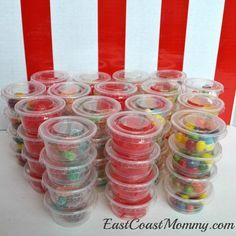 LOVE all these carnival prize ideas... including condiment containers filled with candy. Adorable!