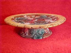 antique majolica strawberry comport rare footed pedistal dish  c1800-1891, gm370 #ArtNouveau
