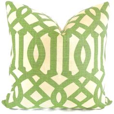 Kelly Wearstler Green Trelliage Imperial Trellis Decorative Pillow Covers Square or or Euroshams or Lumbar Green Color Schemes, Green Colors, Down Pillows, Throw Pillows, Kelly Wearstler, Pillow Forms, Traditional Decor, Color Of The Year, Decorative Pillow Covers