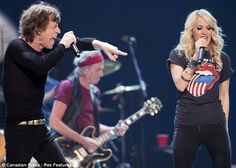 Perfect harmony: A 39-year age difference didn't curb the on-stage chemistry between Mick Jagger and Carrie Underwood in Toronto.