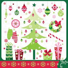 Check out Christmas Elements Clip Art by YenzArtHaut on Creative Market Whimsical Christmas, Retro Christmas, Christmas Themes, Christmas Christmas, Christmas Presents, Christmas Tree Clipart, Christmas Ornament Sets, Sites Like Etsy, Craft Sites