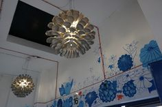 See our beautiful Strobilus recycled paper pulp pendant featuring the @megamanglobal  LED Cluster Light at Pergola on the Roof.