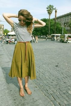 Love this combo - breton striped, boatneck top, midi skirt, belt, flat sandals...