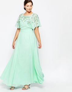 Image 4 ofASOS CURVE Embellished Flutter Sleeve Maxi Dress