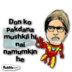 #Amitabh Bachchan from the #movie #don Funny Jokes In Hindi, Funny Quotes, Funny Pictures For Facebook, Funny Dialogues, Desi Humor, Desi Quotes, Bollywood Quotes, Swag Quotes, Meme Stickers