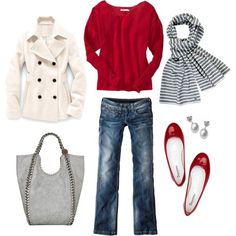Red woolen jumper, blue jeans, black and white striped scarf, shiny red flat shoes, a white jacket and a grey bag.  | followpics.co