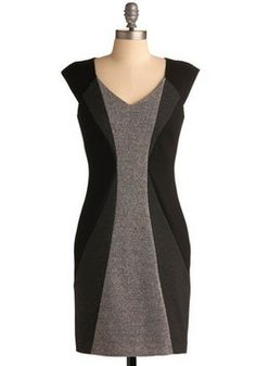gray color block dress