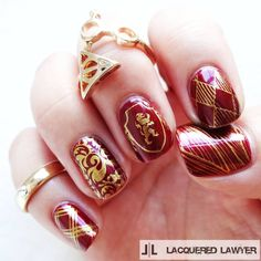 "Lindsay Yoshitomi on Instagram: ""Well Done Gryffindor! I love these Harry Potter stamping plates from @time1780."" Harry Potter nail art"