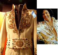 "Elvis first started wearing the king  suit at the end of his 1973 August/September Las Vegas engagement. After that he wore it again during the first months of 1974. Most notably, he wore it during his famous Memphis concert (March 20th, 1974) that RCA recorded. That's also where the fans got the nickname for this suit; the ""Memphis Suit"". The belt here on display is not the orinal belt of this suit."