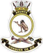 HMAS Arunta (II) Badge Ship Logo, Australian Defence Force, Royal Australian Navy, Ship Paintings, Emblem, Armada, Navy Ships, Crests, Royal Navy
