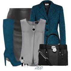Teal, Black, and Gray