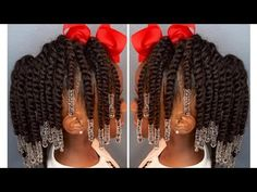 Two-Strand Twist Pony Hawk w/Beads | Kids Natural Hair | IAMAWOG - YouTube