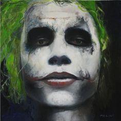 Agent of Chaos. Joker. Comic art. Twenty by twenty, oil on wood. Mielan Zebrowski.
