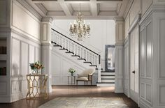 Use #wainscot #moulding from our Metrie #FrenchCurves Collection to create a grand entrance just like in this elegant hallway.
