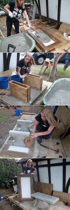 four steps showing the making of a concrete seat - Neue Deko-Ideen Concrete Crafts, Concrete Projects, Backyard Projects, Outdoor Projects, Garden Projects, Outdoor Ideas, Concrete Bench, Concrete Cement, Concrete Furniture