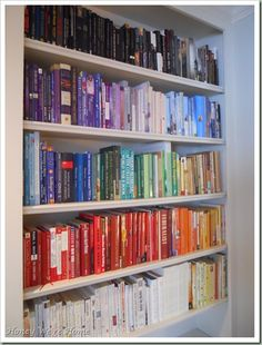 Books by color // usually I would classify this as OCD, but there is some visual clarity here  I like it!