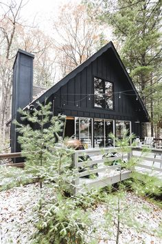 Our Wisconsin Chalet Style Cabin #cabin #chalet #Wisconsin #aframe #blackcabin #black #cozy #northwoods